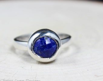 Lapis Lazuli Faceted Ring, Blue Gemstone Ring, Lapis Ring, Lapis Gemstone Ring, Gemstone Ring, Size 7.5