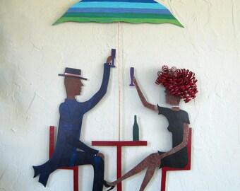 Metal Wall Art Dining Sculpture Couples Celebrating Wine Romance Sidewalk Cafe Anniversary Wedding Indoor Outdoor 19 x 26