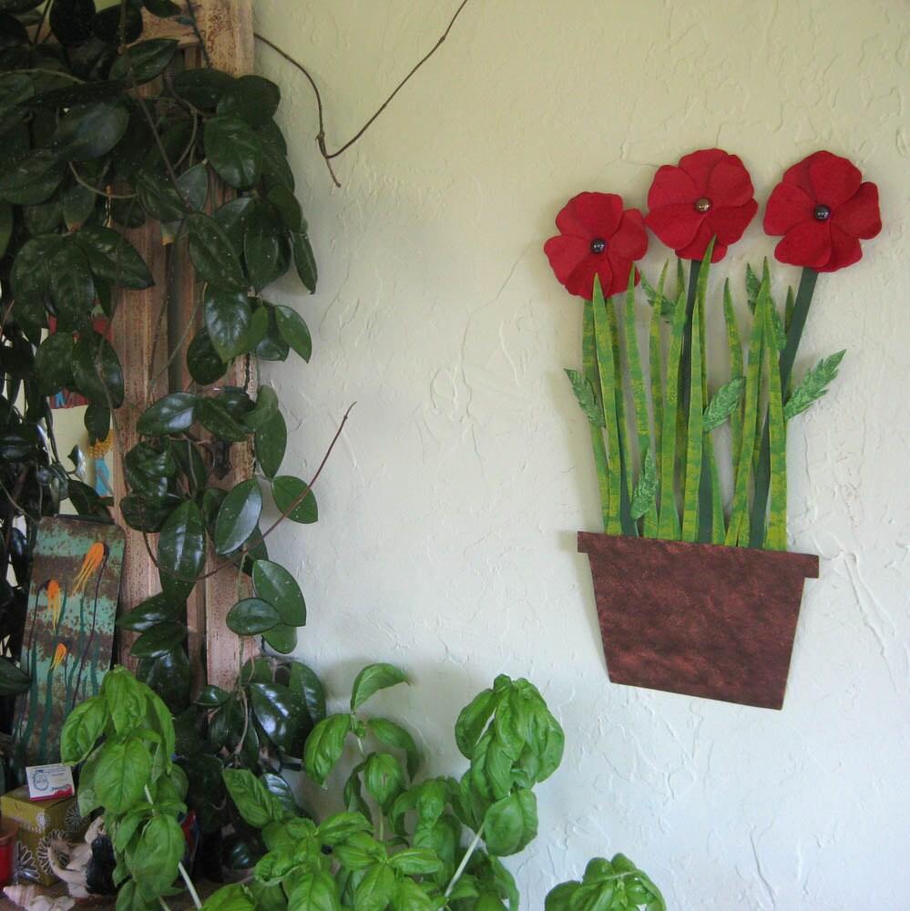 Metal Wall Art Flowers Red Poppies Sculpture Flower Pot Wall