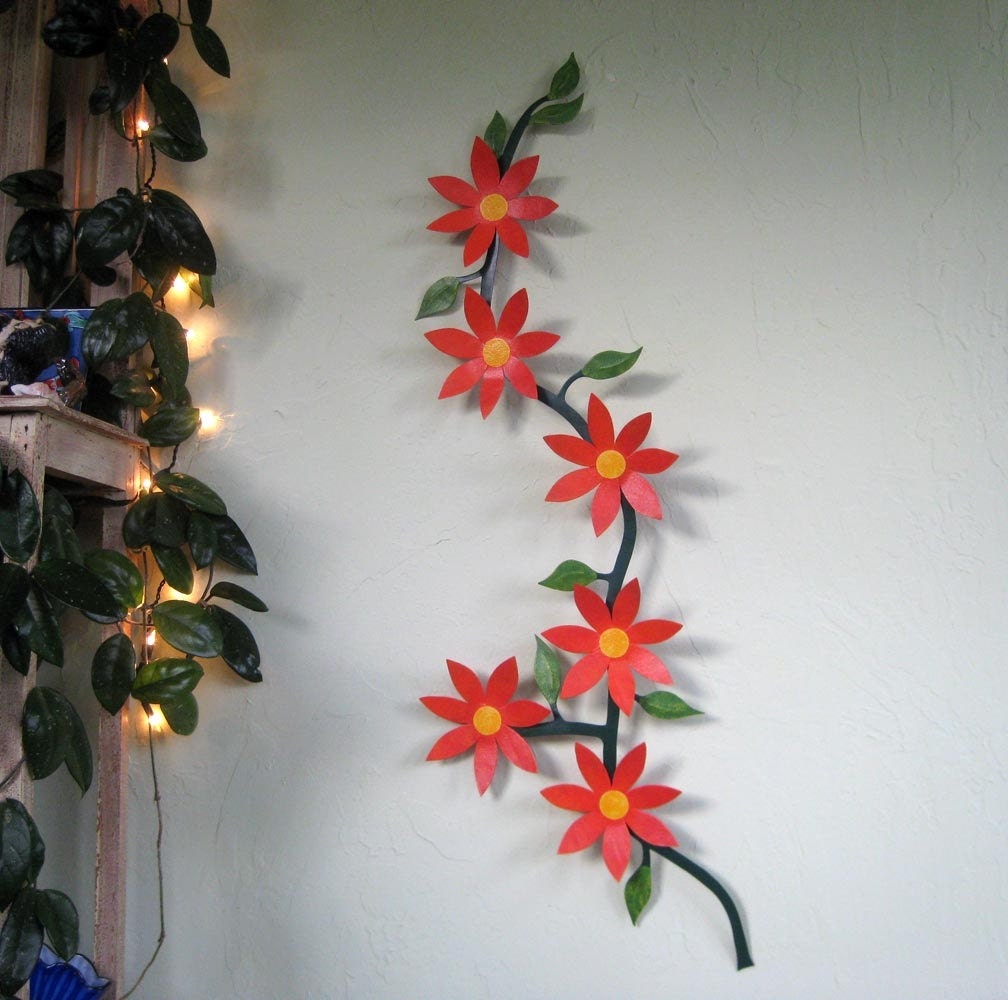 Large metal wall art flower vine sculpture climbing trailing for Metal flower wall art
