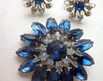 Blue Sapphire Rhinestone Brooch and Earring Set - 1960s.