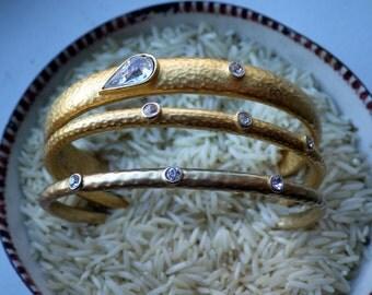 Set of Three Rhinestone and Hammered Gold Bracelets - Bangle