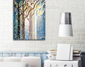 Blue Earthy Brown Abstract Tree Painting Bedroom Decor, 16x20 Nature Wall Art Canvas Art Landscape Painting - Winter Day
