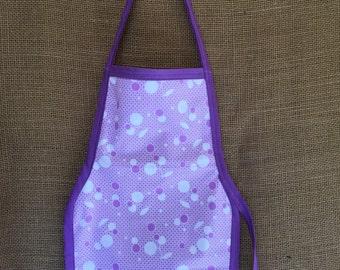 Toddler Apron (Montessori Style,Velcro closure, reversable, purple polka dots and berries.)