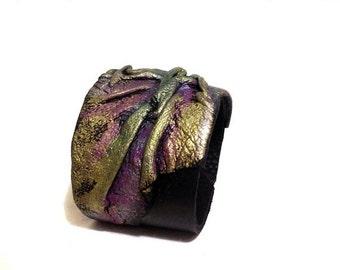 50% OFF SALE Leather cuff bracelet. Bright leather bracelet. Leather jewelry