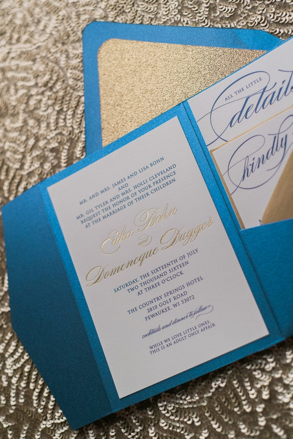 Digital And Foil Fancy Sapphire And Gold Glitter Pocket