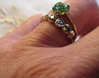 Valentine Sale Today only Danusharose Vintage Emerald Diamond Glass Green Heart Design SOULMATE Wedding 2 Ring Set Fine Jewelry Report