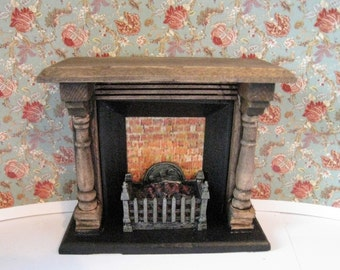 Dollhouse Fireplace, country style fireplace, small fireplace, dark oak, twelfth scale, dollhouse miniature
