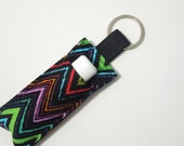 Chapstick Keychain,Lip Balm Key chain,Chapstick Holder,keychain,Lipbalm cover pouch,lipstick pouch Keychain - Black ZigZag