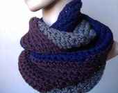 SALE Cowl Endless Infinity Scarf - Fine Wool Silk Cashmere - in Bright Navy Rich Brown and Gray - Handmade - Ready to Ship