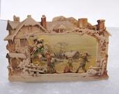 Antique Repro Greeting Card Winter Snow Scene Three Dimensional