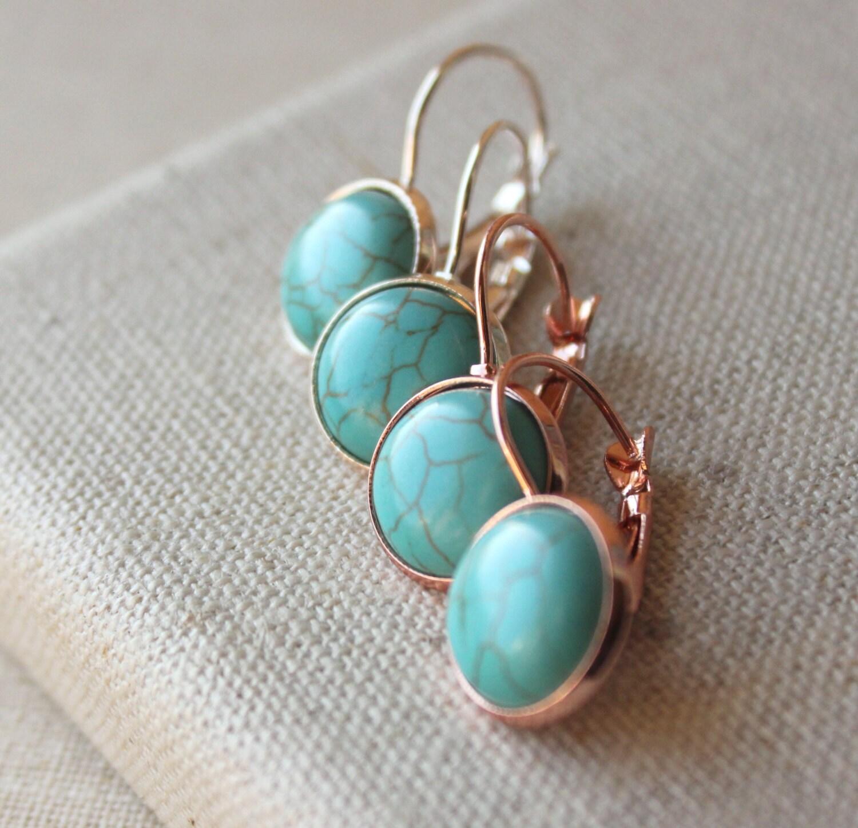 turquoise earrings rose gold turquoise dangle earrings. Black Bedroom Furniture Sets. Home Design Ideas
