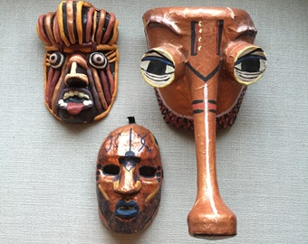 Handmade set of 3 African -style masks