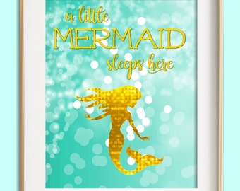 A Little Mermaid Sleeps Here printable, aqua turquoise gold nursery decor, mermaid wall art, instant download, baby girl nursery decor