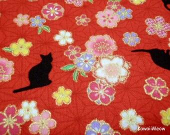 Beautiful Kimono Fabric - Asanoha Black Cat Sakura on Red - Half Yard (ta160528)