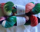 Studio June Yarn Super Cash Sock - Cashmere, Merino, Nylon - Color:  Multi - Navy, red, green, purple
