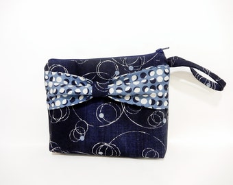 Navy Blue Wristlet, Mini Purse, Handbag, Purse, Fabric Wristlet, Bag with Bow, Navy Clutch, Gift for her, Gift under 30, Orbits and Circles