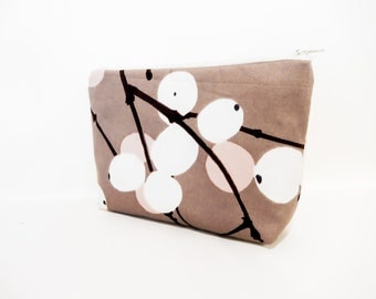 Medium Pouch, Fabric Pouch, Marimekko Pouch, Winter Pouch, Zipper Pouch,  Cosmetic Bag, Toiletry Bag, Marimekko Berries in Brown and Pink
