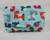 Large Snap Pouch .. Urban Zoologie  Foxes in Sky