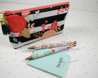 Zipper Pouch with Tassel, Planner Pouch, Accessory Pouch, Pen Pouch... Black and White Stripe with Mint, Coral, Gold Floral