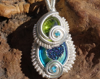 Peridot,Titanium Druzy, Blue Apatite and Sterling Silver Wire Wrapped Pendant ~ Handcrafted, Gypsy, Pixie, Faerie, Boho, Wearable Art