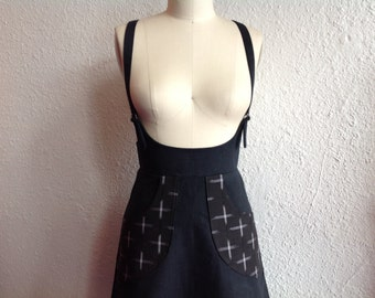 Black cotton twill suspender skirt Sz 4