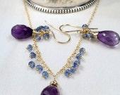 CUPID SALE Amethyst Kyanite Necklace Earrings Set, 14kt Gold Fill, Wire Wrap Minimalist Jewelry, Simple Everyday Purple Gemstone February Bi