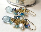 Teal Blue Green Earrings Cluster Earrings Pearls Tanzanite Gold Fill Wire Wrap Gemstone Dangle Earrings