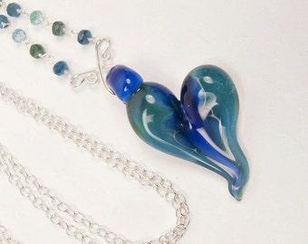 SUPER SALE 60% OFF Heart Pendant Lampwork Boro Glass Wire Wrap Gemstone Dangle Necklace Blue