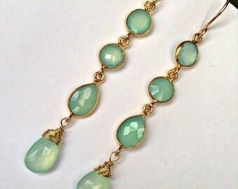 40% SALE Aqua Gemstone Earrings Aqua Chalcedony Mint Long Dangle Earrings Gold Filled Wire Wrap Connector Earrings