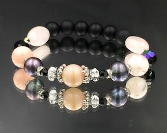 Blush Pink Peruvian Opal Stack Bracelet Stretchy Layering Bracelet Friendship Bracelet Black Onyx Swarovski Yoga Boho Chic Jewelry