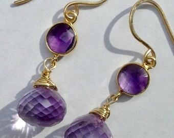 BLACK FRIDAY SALE Amethyst Dangle Earrings, Pink Amethyst Handmade Gemstone Earrings, Wire Wrap Gold