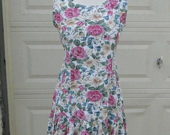 Vintage 90's Drop Waist Grunge Floral Dress