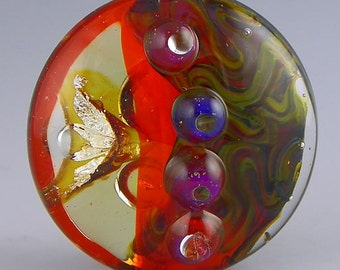 handmade lampwork glass bead a bright orange large lentil focal with fine silver and silverglass - Aerium