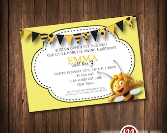 INVITATION: Maya the Bee Birthday Invite or Printable Party Package