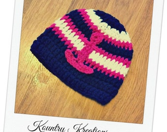Crochet Nautical Baby Hat with Anchor/Crochet Newborn Hat/ Crochet Toddler Hat/ Baby Hat (Ready to Ship)