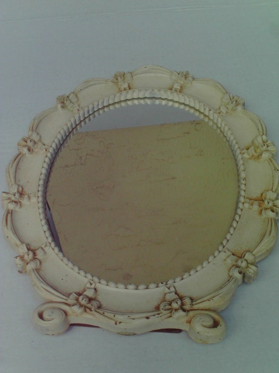Vintage oval syroco mirror white bows easel stand up hanging for White stand up mirror