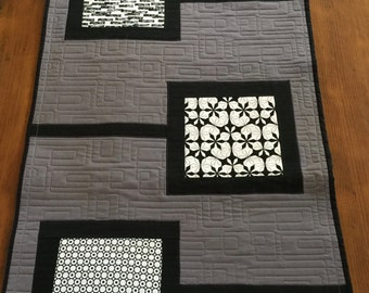 Kona grey Table Runner or Wall Hanging with Black and white inserts