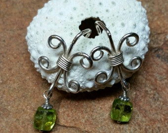 Peridot and Sterling Silver Fleur Earrings - Handmade and Unique