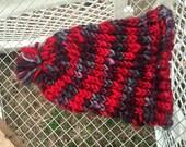 Red Handspun Pom Baby Hat