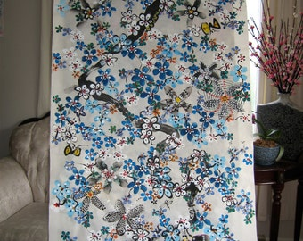 "Large Original Abstract Painting Flower Art size 54""x28"" on Rice Paper by SJKIM// blue painting// modern flower art// abstract blue art"