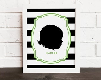 custom silhouette portrait, child silhouette, personalized family art, modern silhouette, family keepsake art, black and white wall art