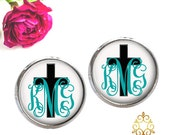 Cross Monogram Earrings, Cross Stud Earrings Monogram Jewelry (414)