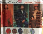 Simplicity 9287, Design your own Jacket.  Jacket  with optional lining has button front or toggle closures.  XS, S M