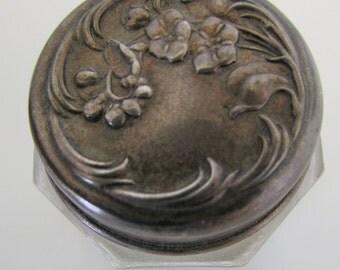 Sterling Silver Dresser Jar Art Nouveau Dresser Jar Embosssed Raised Floral Design Vintage Dresser Jar Dated 1895 Turning Purple with Age