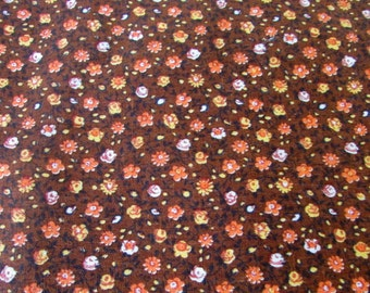 Vintage Cotton Fabric Teeny Flowers Brown Background over 3 yards Quilt Fabric