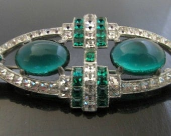 Vintage Rhinestone Brooch Art Deco Pin Clear and Emerald Rhinestones
