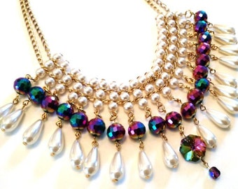 Redesigned vintage pearl and crystal peacock glass bib necklace