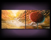 """art abstract painting dr. seuss tree canvas wall art xxl canvas painting Original Painting 22 x 56 x 1.5"""" thick"""