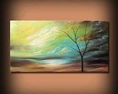 ORIGINAL 48 inch large art painting abstract mid century minimalist canvas tree painting